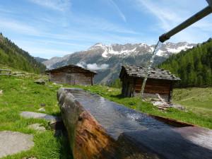 Holzbrunnen und Almhtten